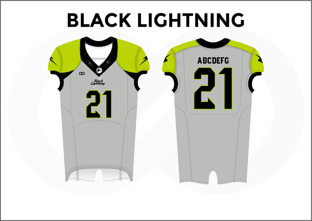 BLACK LIGHTNING Black White and Yellow Practice Football Jerseys