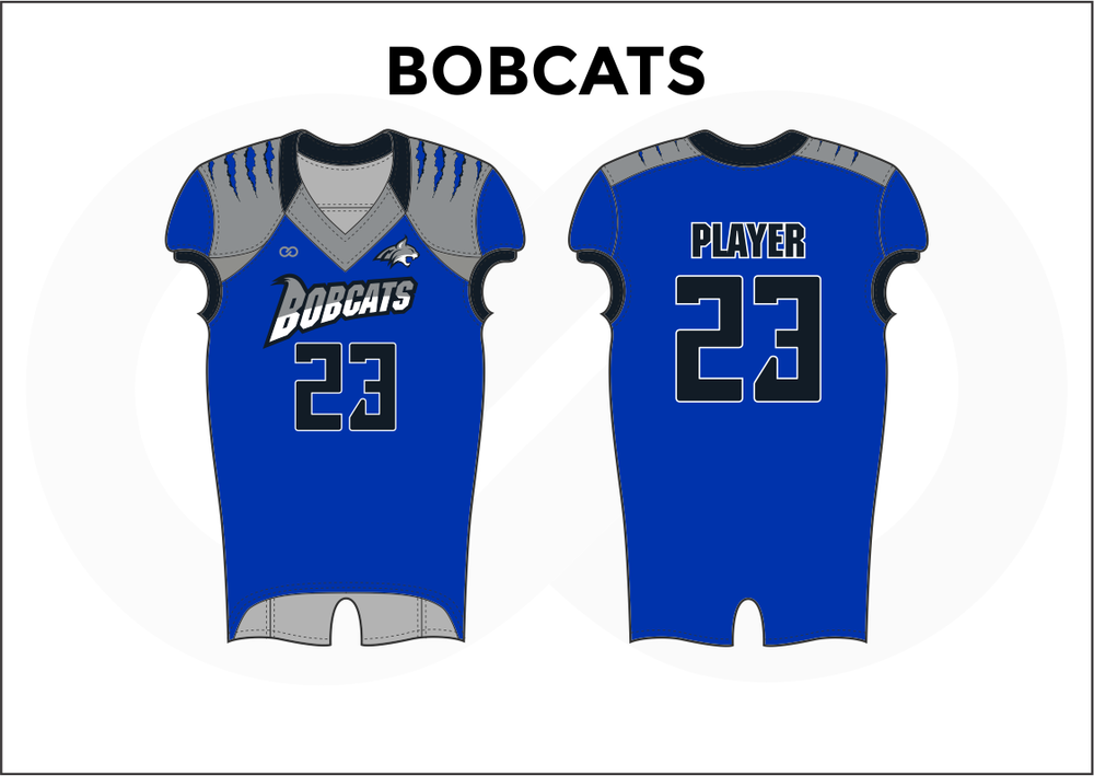 BOBCATS Gray Blue and Black White Practice Football Jerseys