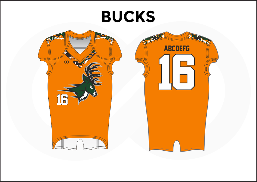 BUCKS Black White and Orange Practice Football Jerseys