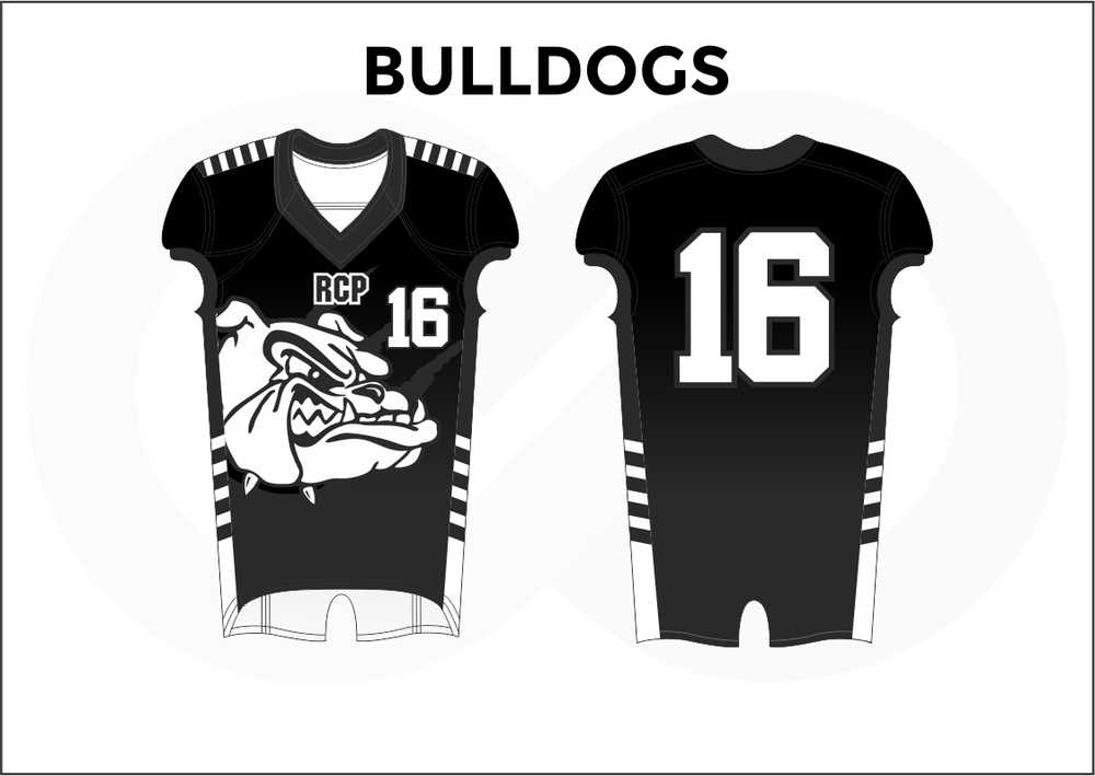 BULLDOGS Black and White Practice Football Jerseys