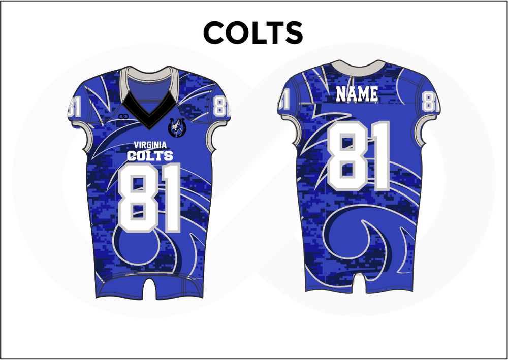 COLTS Black White and Blue Practice Football Jerseys