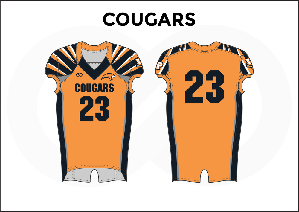 COUGARS Black White and Orange Practice Football Jerseys