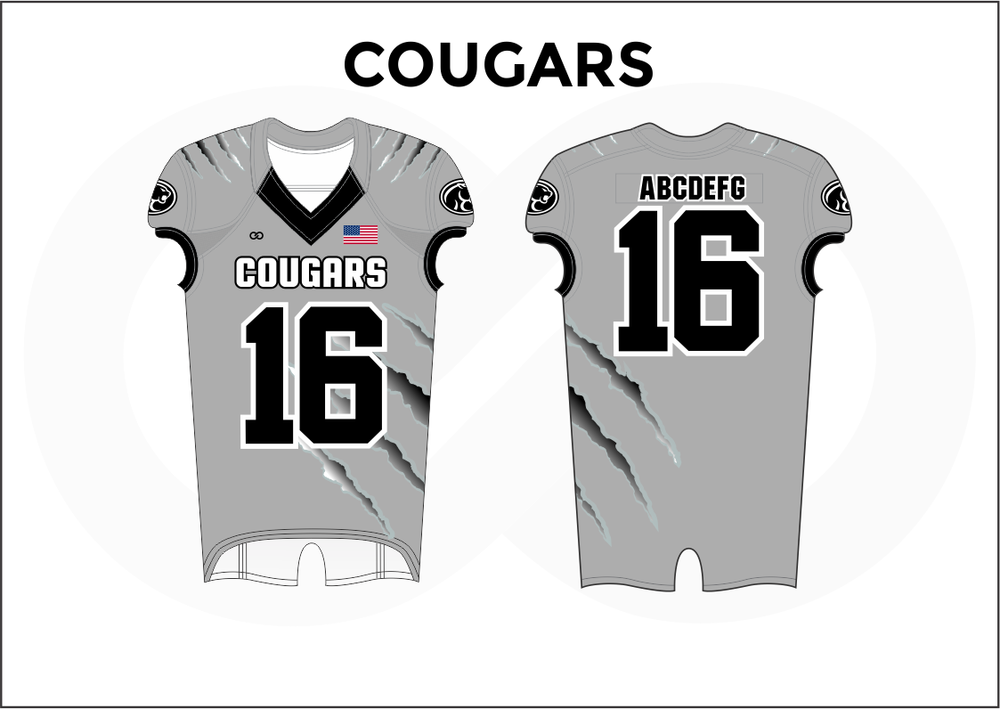 COUGARS Gray Black and White Practice Football Jerseys