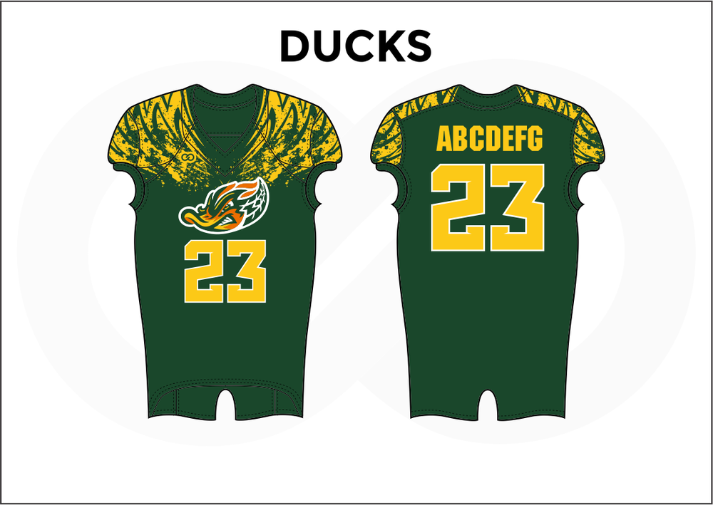 DUCKS Yellow White and Green Practice Football Jerseys