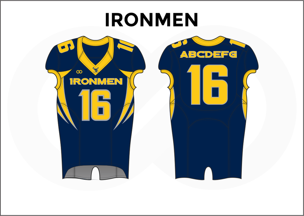 IRONMEN Blue and Yellow Practice Football Jerseys