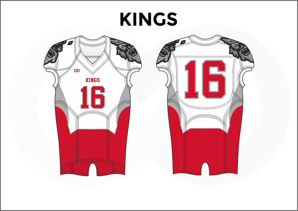 KINGS Gray Black White and Red Practice Football Jerseys