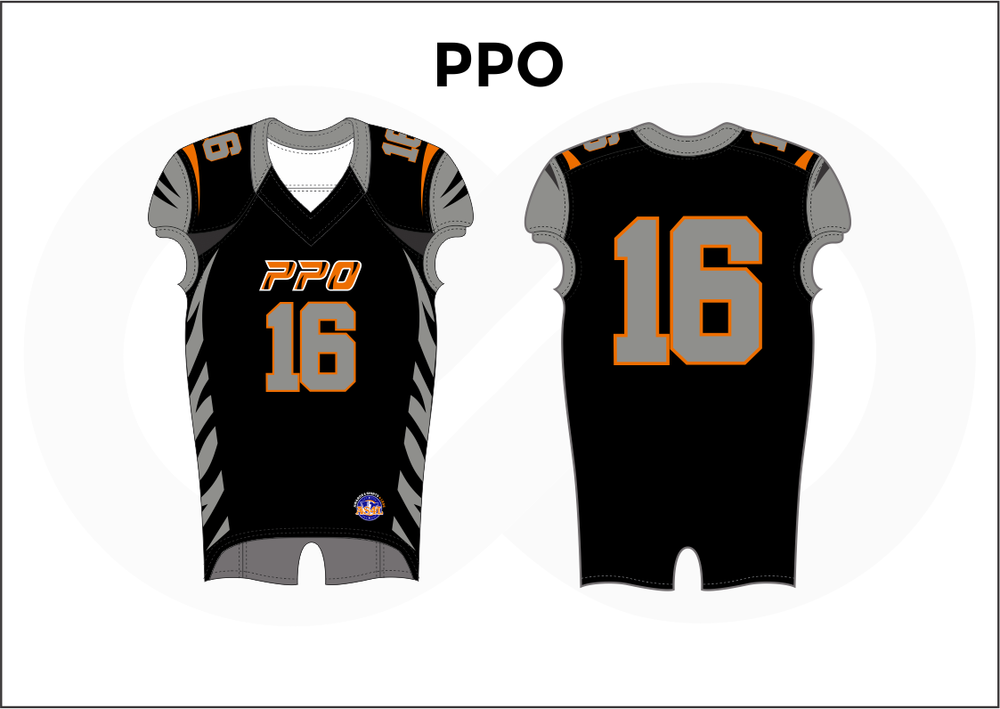 PPO Gray Black and Orange Practice Football Jerseys