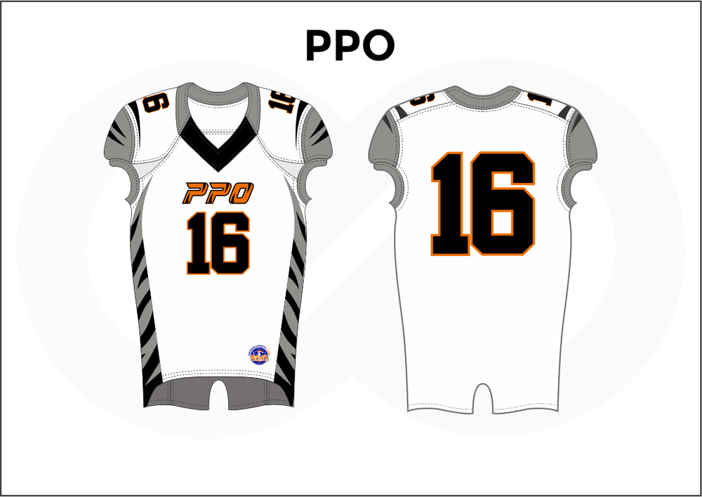 PPO Black Orange Gray and White Practice Football Jerseys