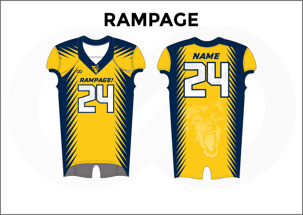 RAMPAGE Blue White and Yellow Practice Football Jerseys