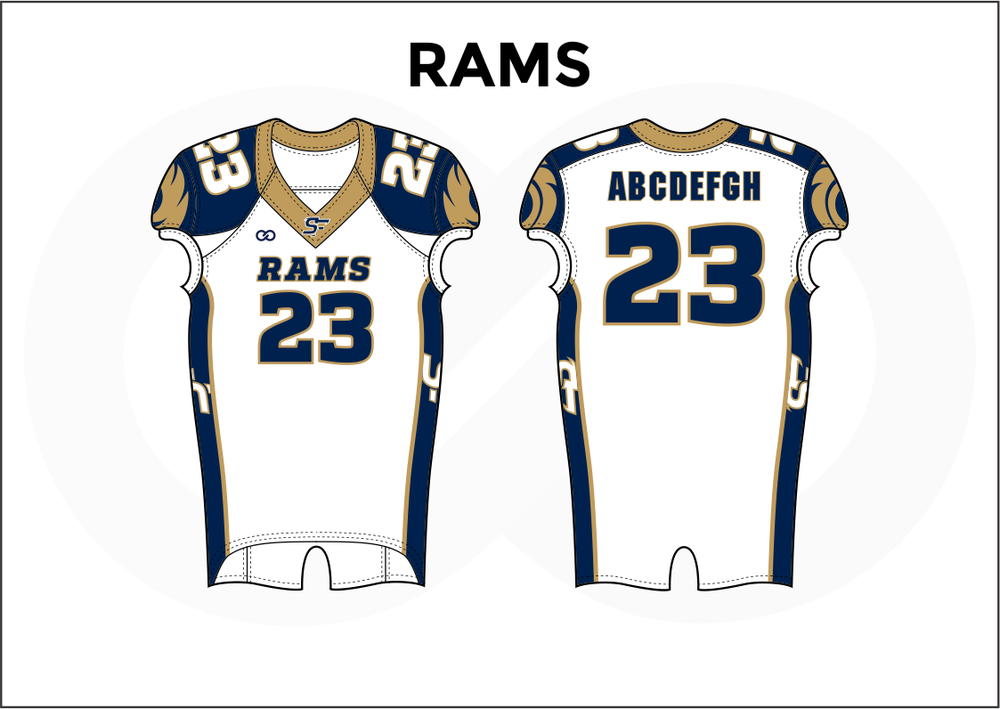 RAMS Brown Blue and White Practice Football Jerseys