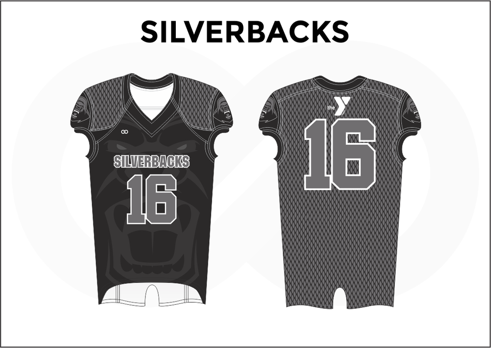 SILVERBACKS Gray Black and White Practice Football Jerseys