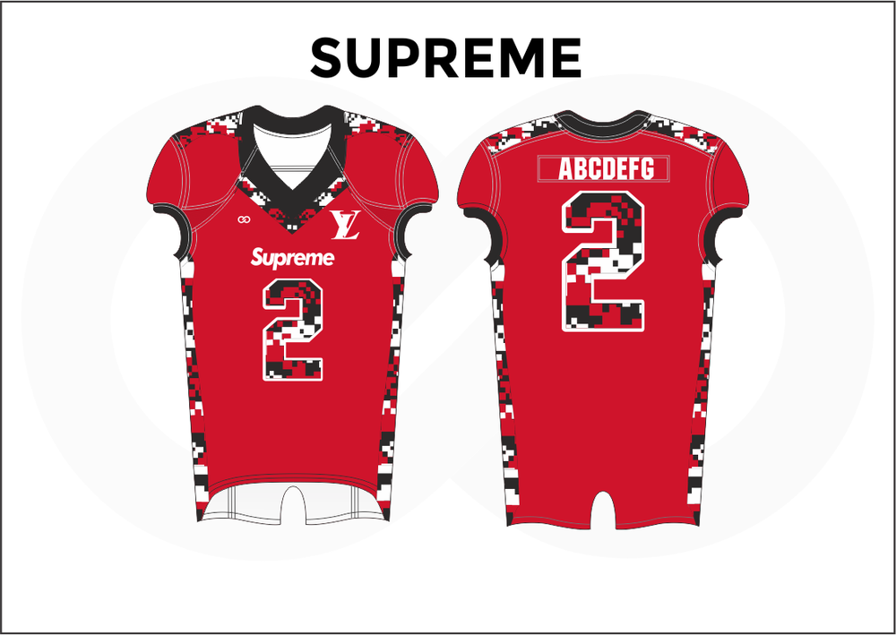 SUPREME Black White and Red Practice Football Jerseys