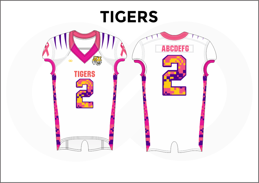 TIGERS Pink Violet Yellow and White Practice Football Jerseys