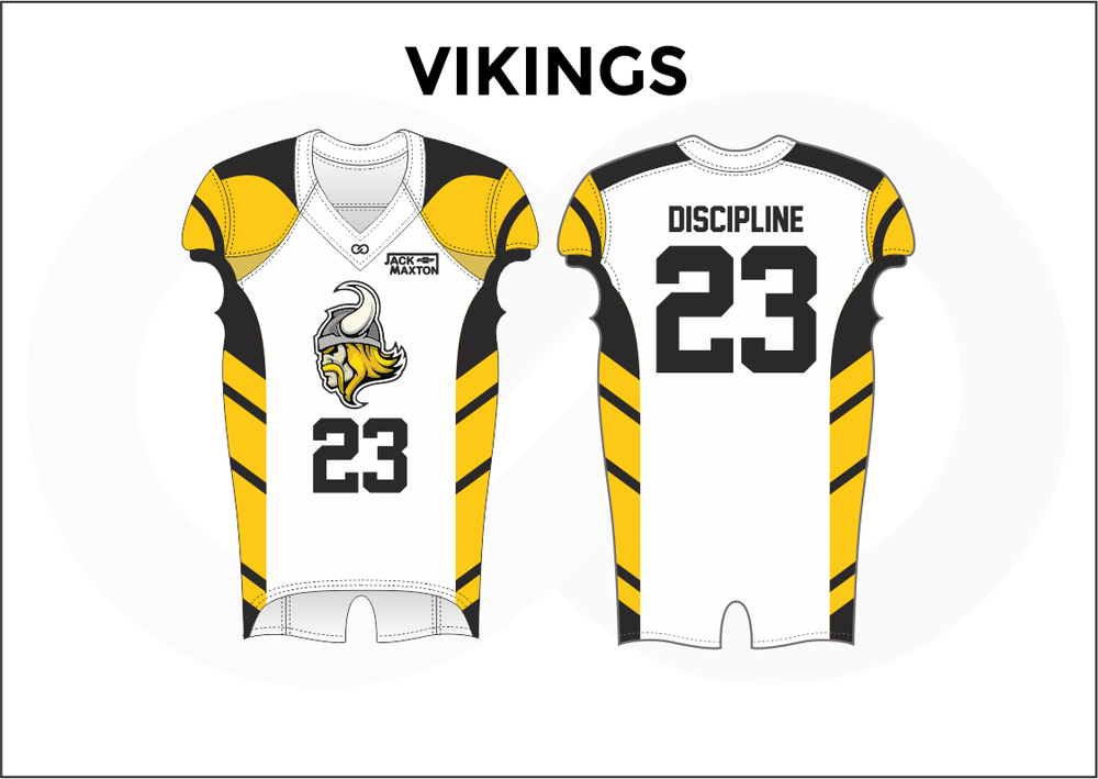 VIKINGS Black White and Yellow Practice Football Jerseys