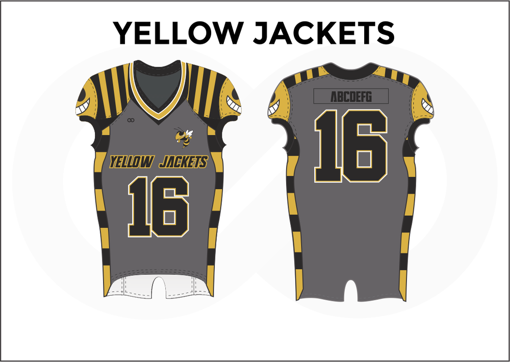 YELLOW JACKETS Gray White Black and Yellow Practice Football Jerseys