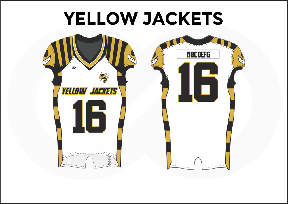 YELLOW JACKETS Black Yellow and White Practice Football Jerseys