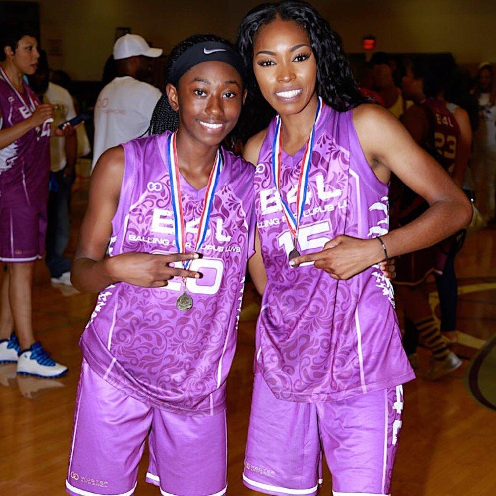 Women's E4L Lavender White basketball uniforms, jerseys, and shorts