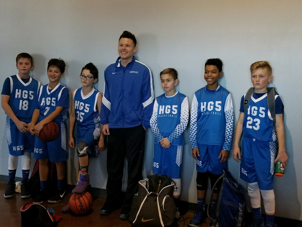 Youth HG5 Blue White basketball uniforms, jerseys, and shorts