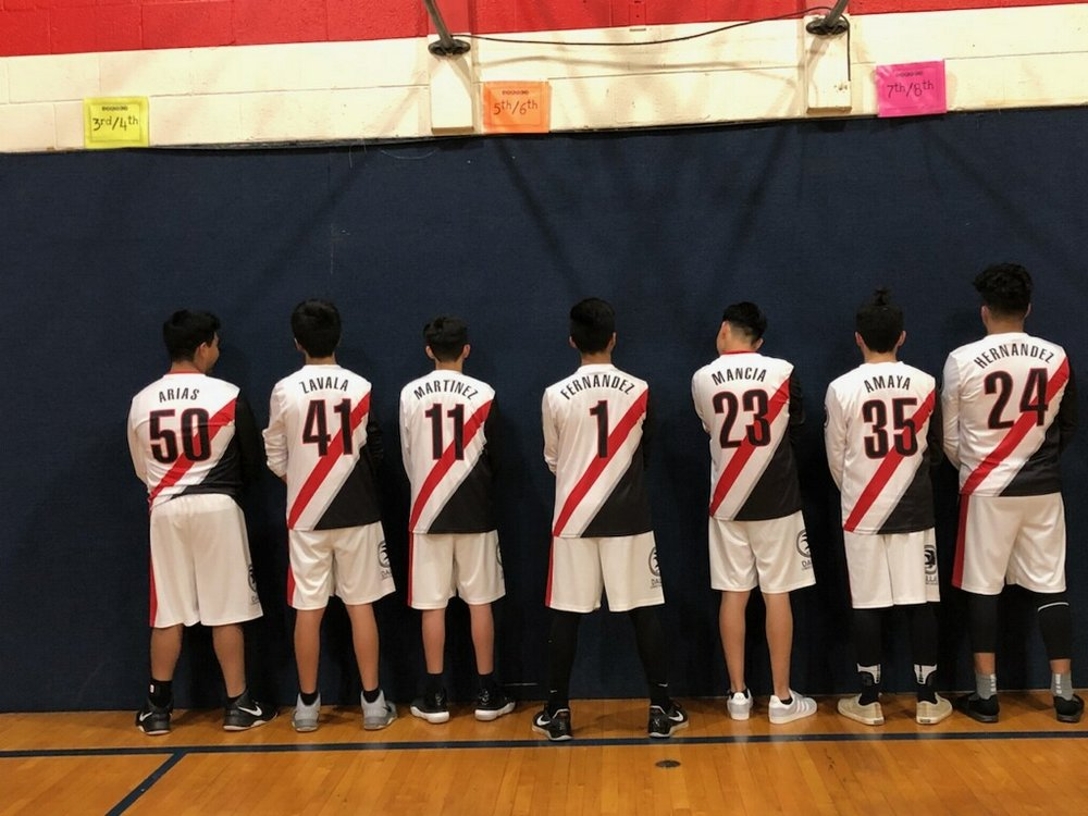 Youth FALCONS White Black Red basketball uniforms, jerseys, and shorts