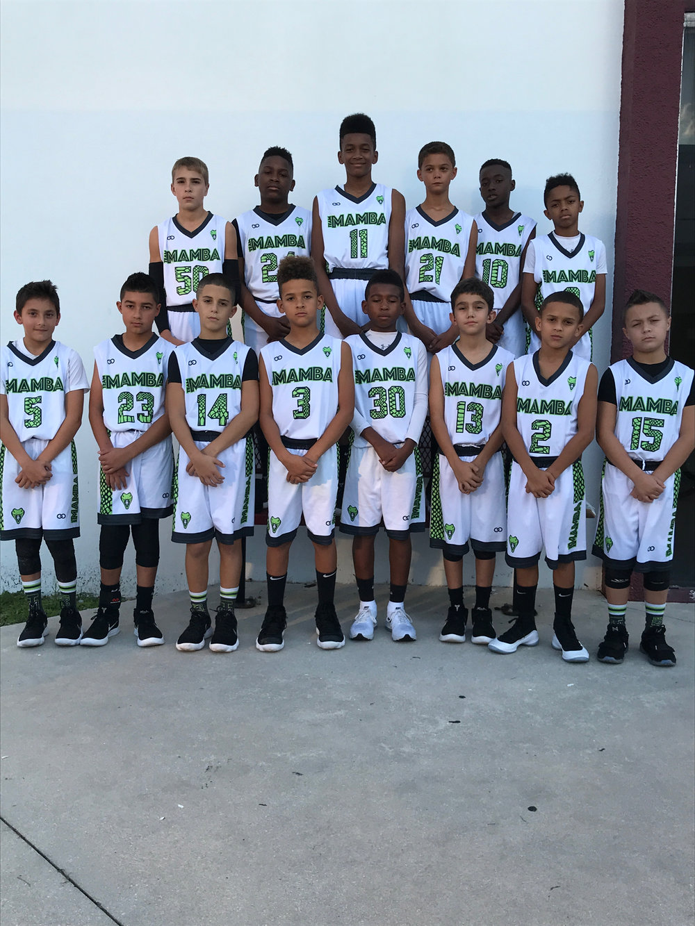 Youth MAMBA White Green Black basketball uniforms, jerseys, and shorts