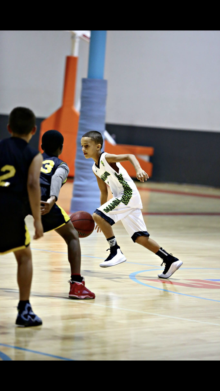 Youth MAMBA White Black Green basketball uniforms, jerseys, and shorts