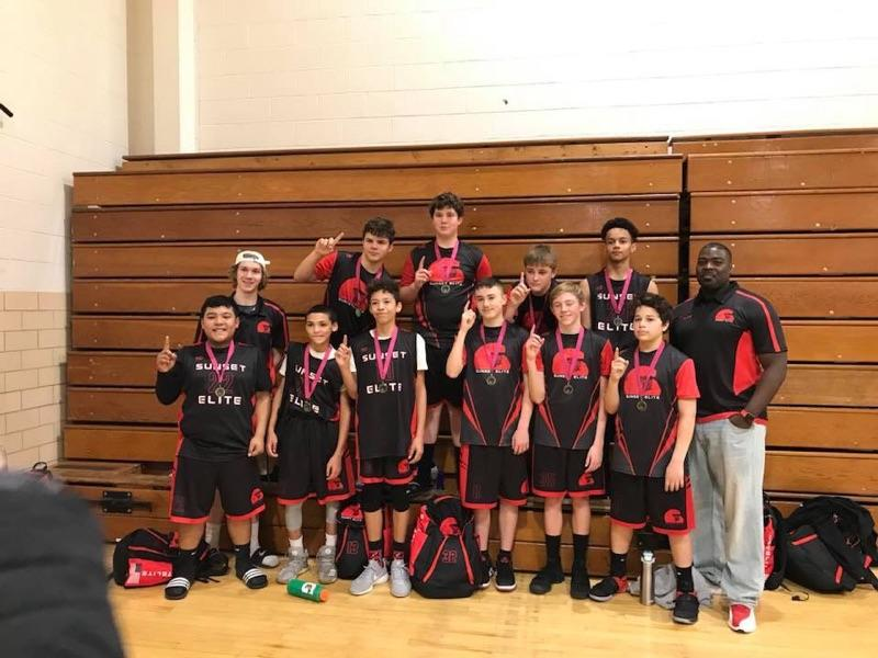 Youth SUNSET ELITE Black Red White basketball uniforms, jerseys, and shorts