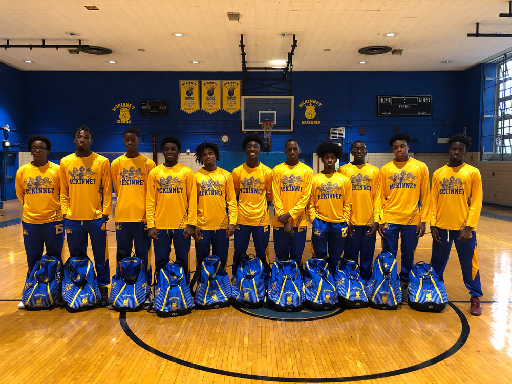 MC KINNEY Yellow Blue Basketball Uniforms, Bags, Long-sleeves, and Pants
