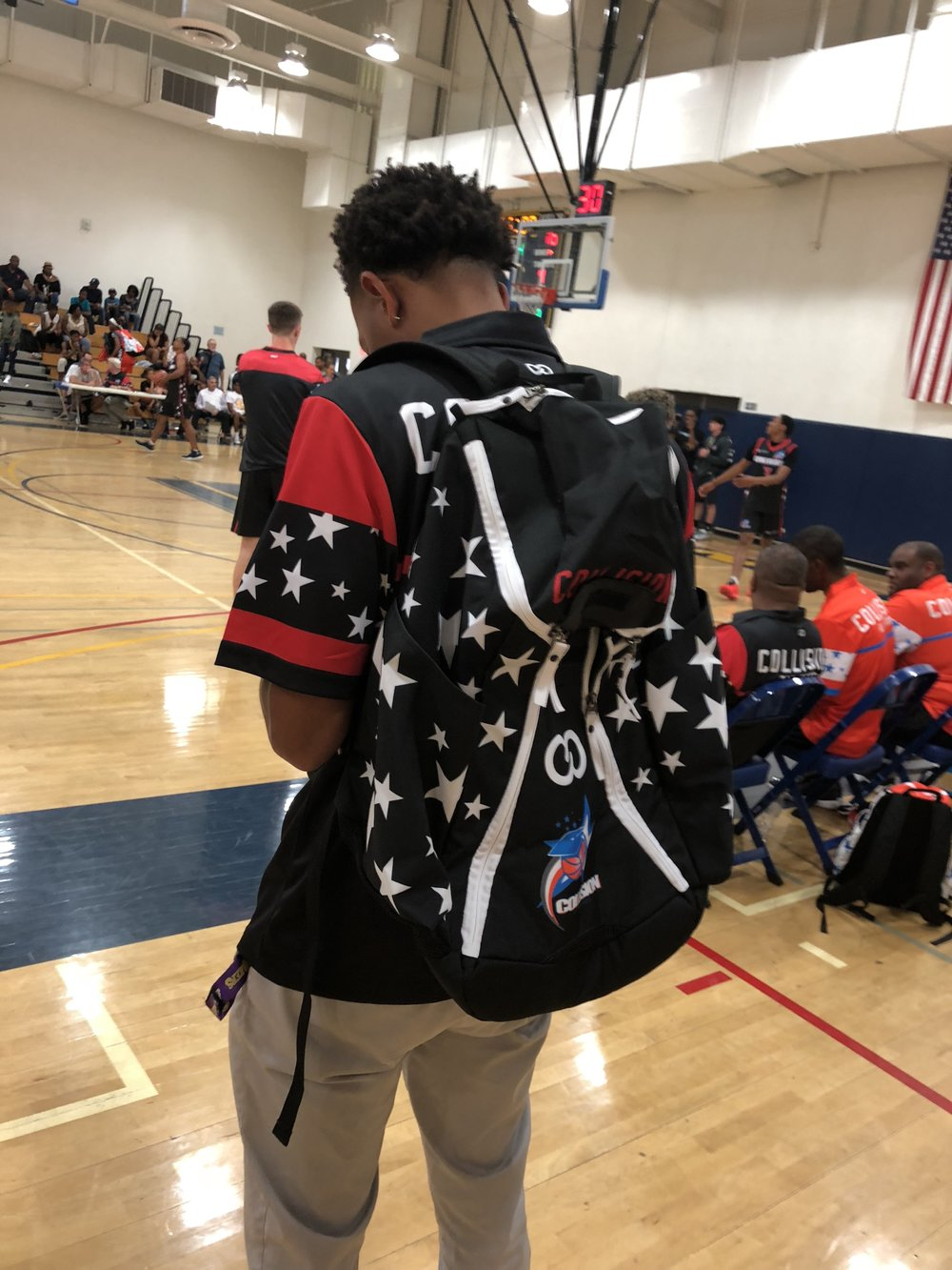 COLLISION Black White Red Blue Basketball Backpack