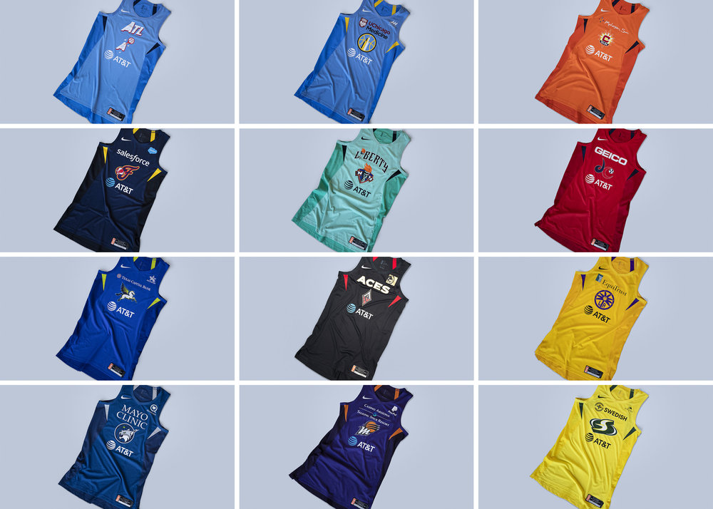 Game Time: Nike focused on amplifying each teams' primary and secondary colors to give each WNBA team a special look that includes women-specific scapula cuts on the jersey and vents on the shorts.