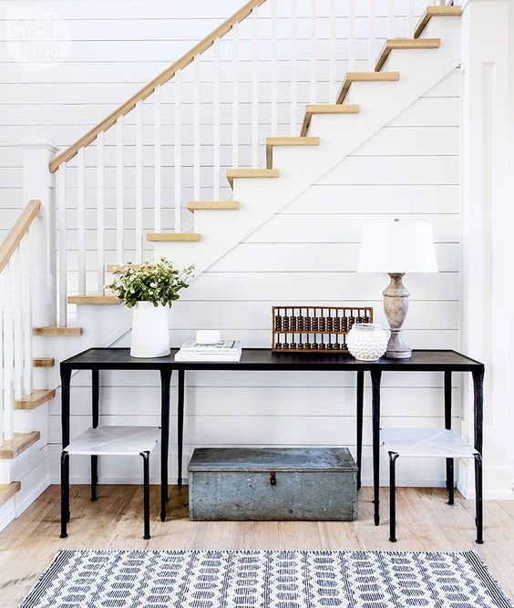 entry with shiplap stairs