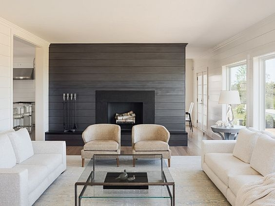 living room with dark shiplap