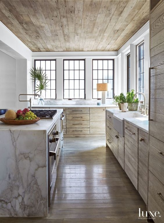 natural shiplap on kitchen ceiling