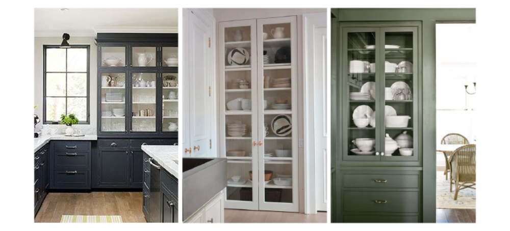 kitchen with display cabinets