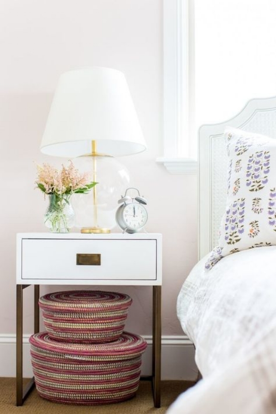 nightstand styling with round glass lamp