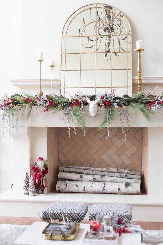 modern christmas mantel display
