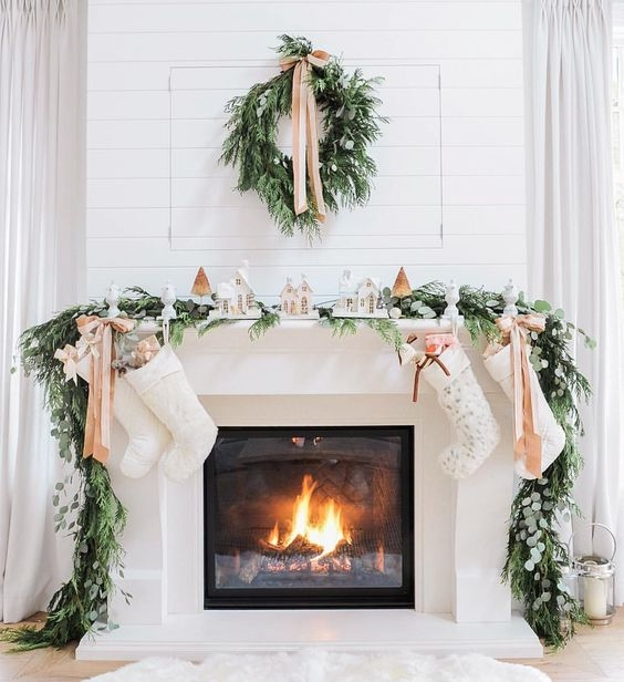 neutral chic christmas mantel decor