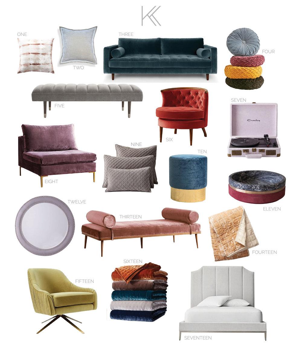 kris and kate studio - velvet furniture and accessories