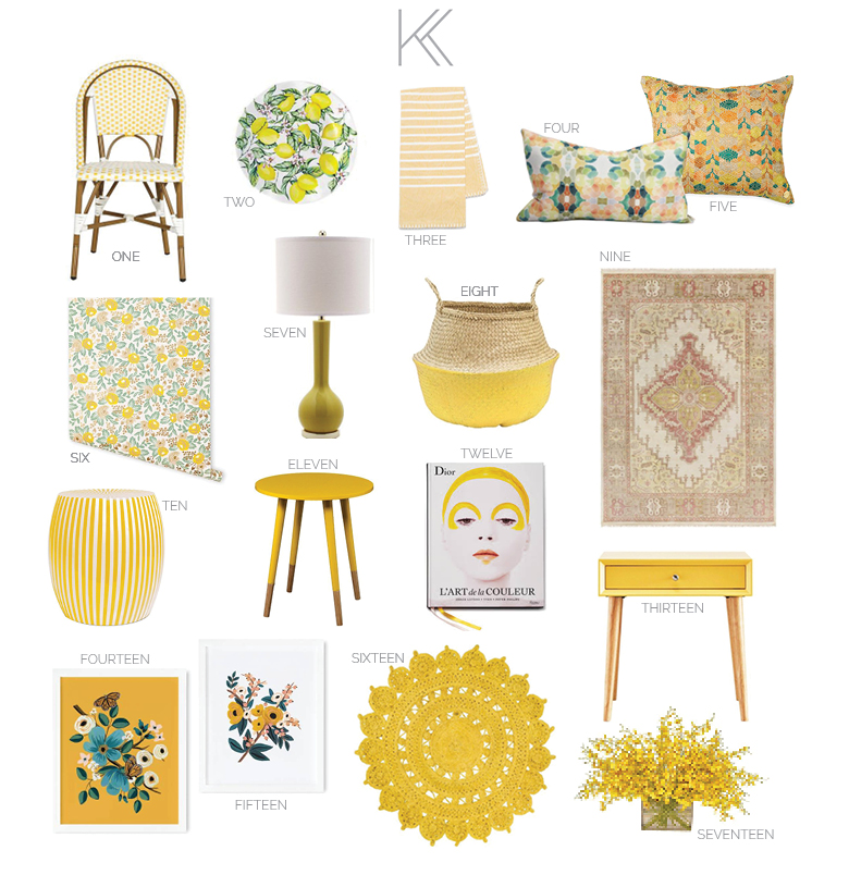 kris and kate yellow furniture and accessories