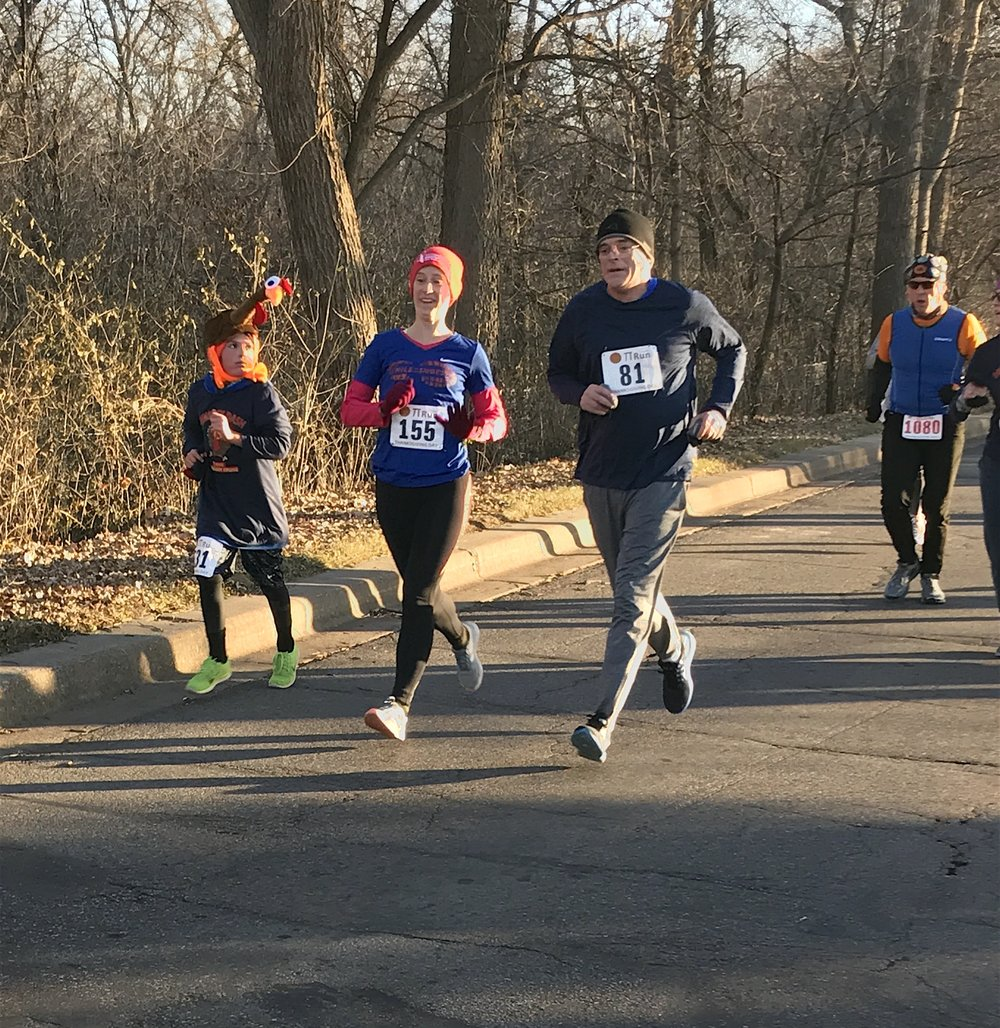 Brian on his way to a first-place finish in his age group at the 2017 Drumstick Dash