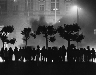 """Rioters outside San Francisco City Hall the evening of May 21, 1979, reacting to the voluntary manslaughter verdict for Dan White, that ensured White would serve only five years for the double murders of Harvey Milk and George Moscone"" (wikipedia)"