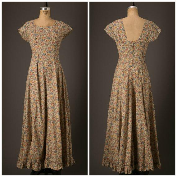 1930s floral print maxi dress