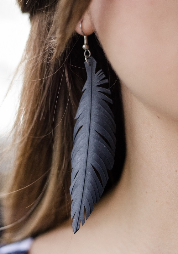 UPCYCLED EARRINGS MADE OF BICYCLE TYRE - Handmade in Melbourne - $40