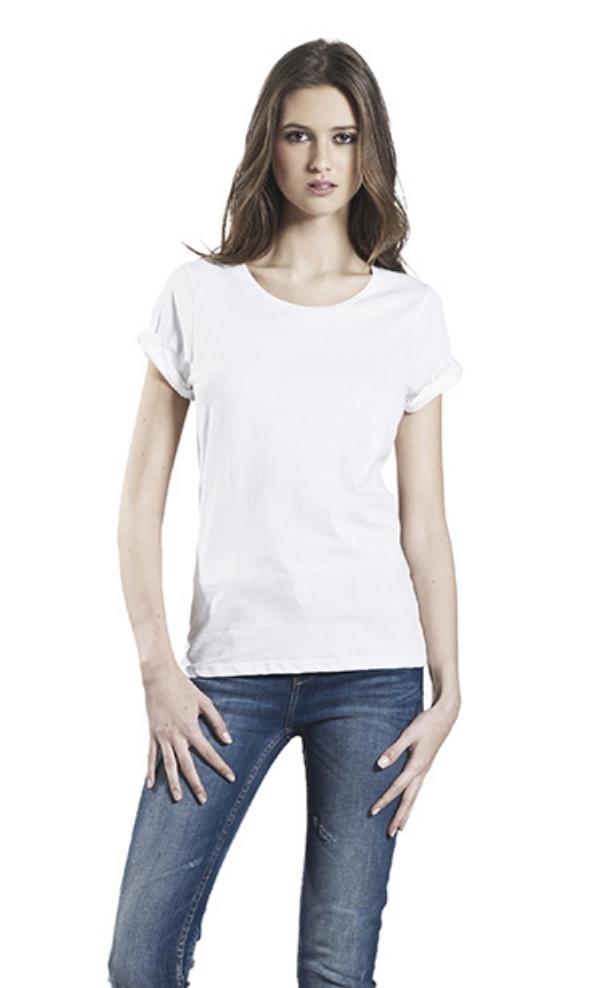 82c37916d9 WHITE ORGANIC COTTON ROLLED SLEEVE T-SHIRT — Velvety