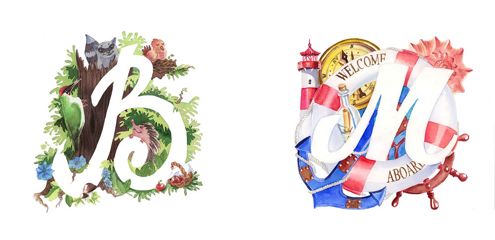 Here are two examples of custom watercolor initials that I did.