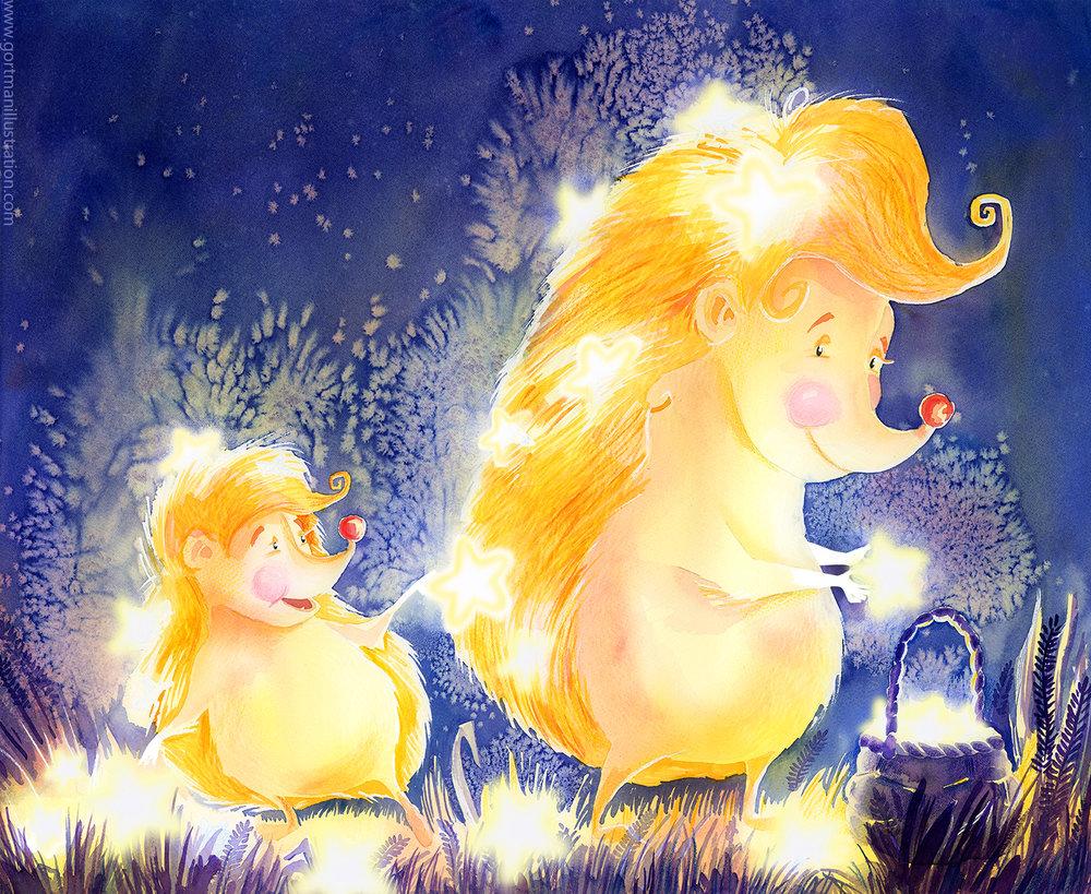 gortmanillustration-Starry night hedgehogs by Polina Gortman.jpg