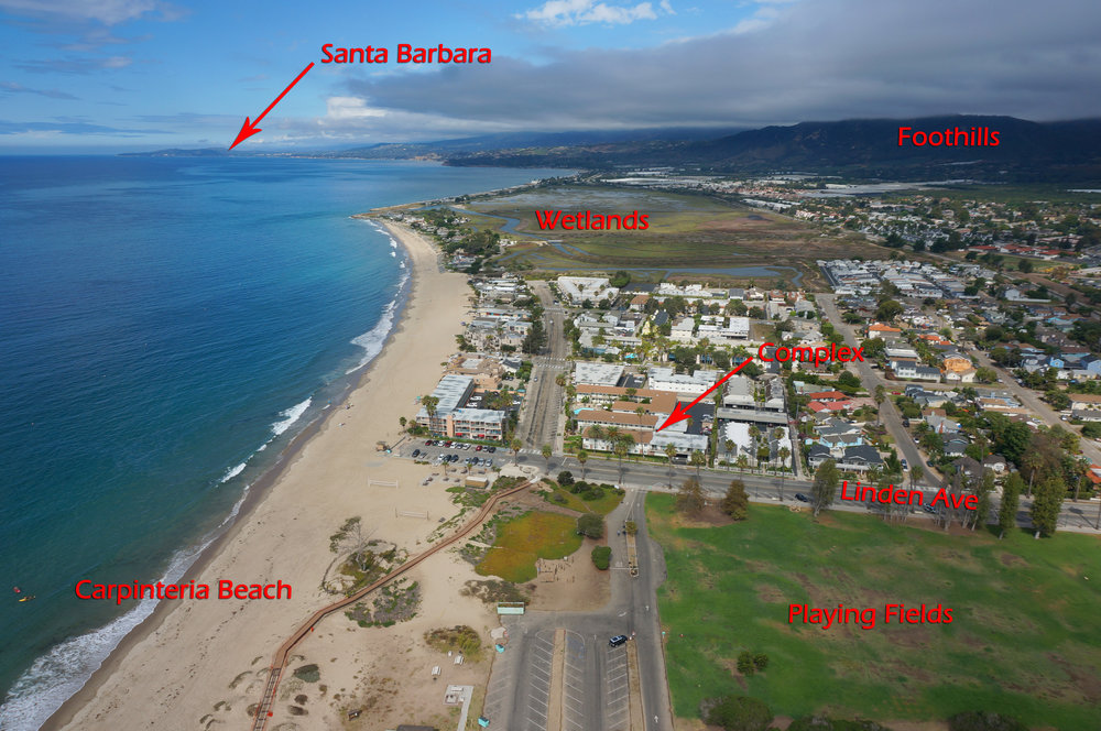 Aerial view of Carpinteria Beach and part of the city