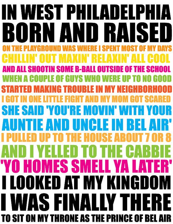 """""""Now this is the story all about how..."""" Read more: Will Smith - The Fresh Prince Of Bel Air Lyrics 