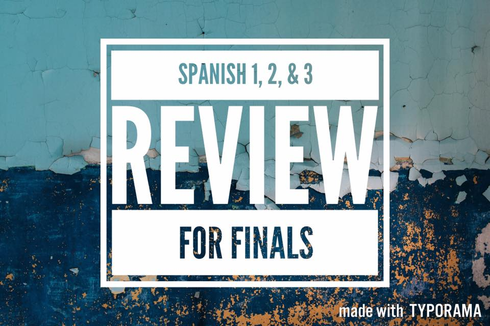 - o   - Spanish FINAL Review (Level 1, 2, or 3): D⏰n't wait to cram and then b💣mb the exam!!!Review and prepare in a practical, cre8tive, fun, & str8forward way- otherwise it doesn't work!!! ;)Space is limited- sign up now to reserve your spot!SUNDAY JUNE 11th & FRIDAY JUNE 16th. FOR SPANISH LEARNERS ONLY