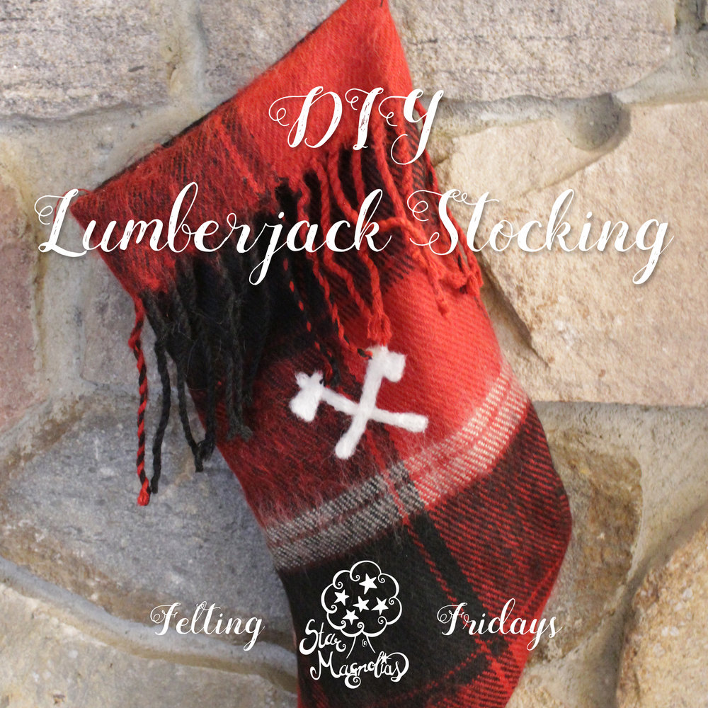 Learn how to make your own lumberjack stocking from an upcycled scarf and with a bit of needle felting.