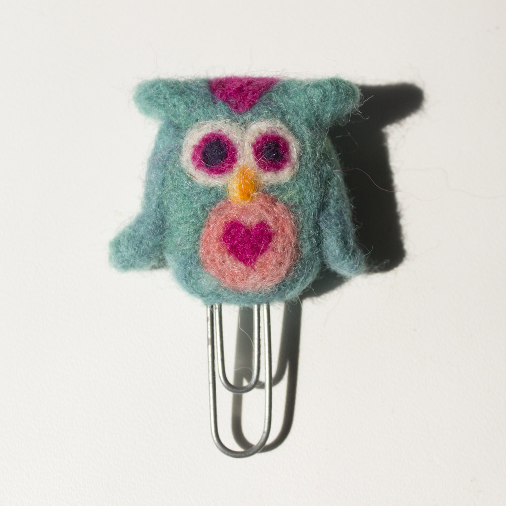 needle felted owl paperclip